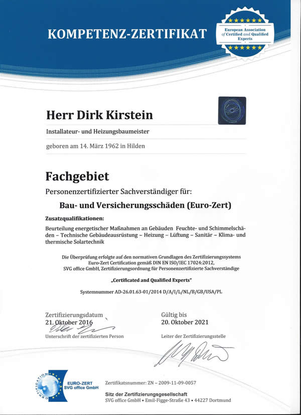 Zertifikat EU-zertifizierter Sachverständiger DIN EN ISO/IEC 17024