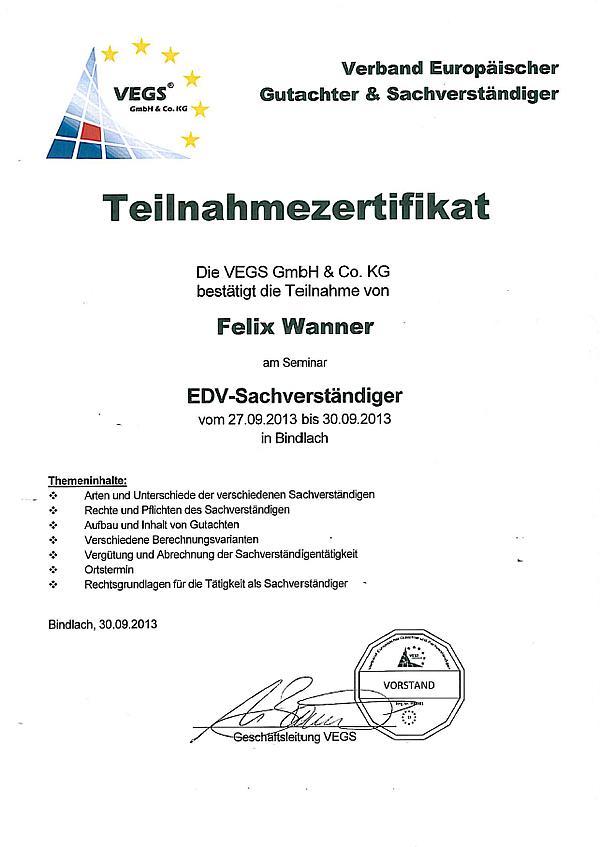 Felix Wanner Zertifikat