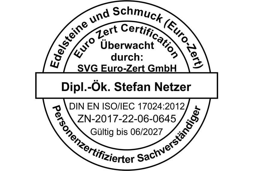 ISO 17024 zertifizierter Schmuck Sachverständiger - Stempel