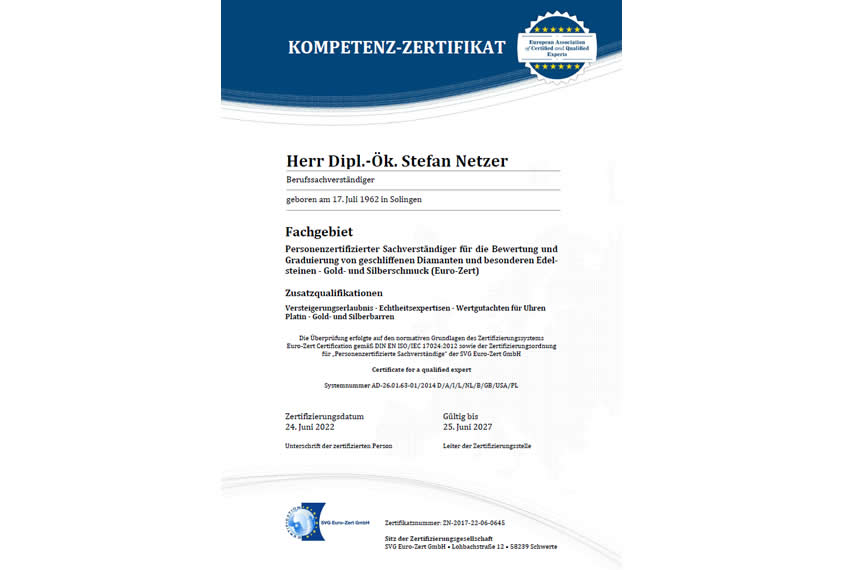 Personenzertifizierter Diamantgutachter - Zertifikat